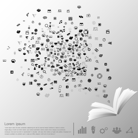 Icons explode on Book infographics Vector  Vector