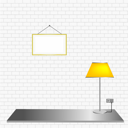shelf on the wall with lamp  Vector