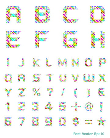 Spectral alphabet Triangles ABC , number Vector illustration   Vector