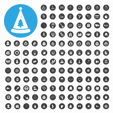 129 icons Christmas Vector  Vector