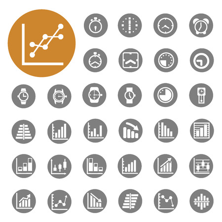 Graph and Clock Business Office icons set vector  Vector