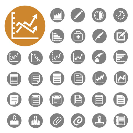 Graph ,Book ,pen ,Office and Business icons set vector  Vector