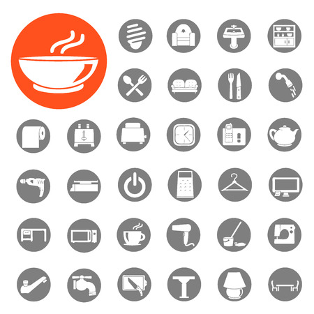 Appliances in the home icon set  Vector