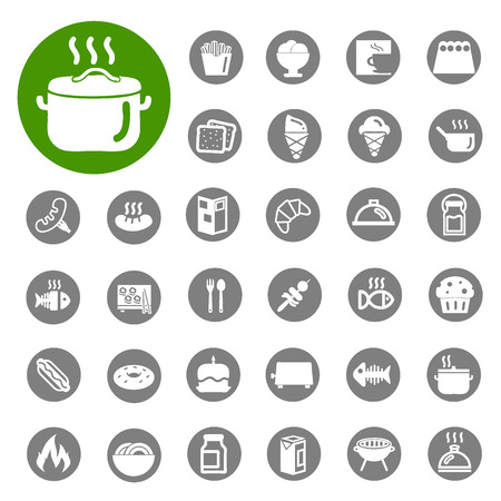 Kitchen and Food icons set  Vector