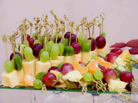 Fruits and desserts on the Banquet table. Buffet. Catering. Stock Photo