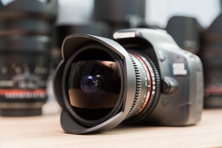 Fish eye lens mounted on a digital SLR camera. Stock Photo