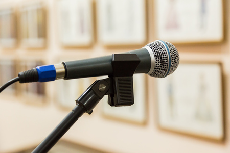 Dynamic microphone at the event. Exhibition hall, paintings on the walls. Focus on foreground, blurred background, bokeh.