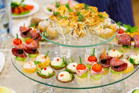 Snacks and delicacies at the Banquet or the reception. A gala reception. Catering.
