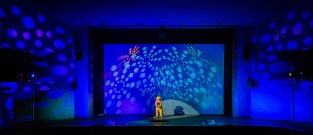 The clown on the stage of a theater or concert hall. Stock Photo
