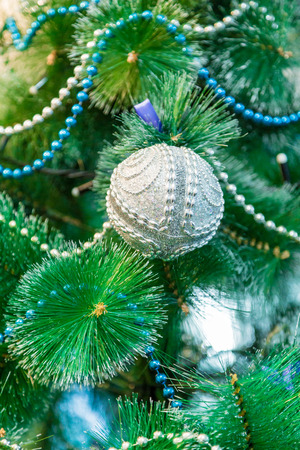 decorated christmas tree with blue lights white christmas ball and garland stock photo - Christmas Tree With Blue Lights