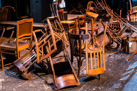 Old broken furniture. A pile of wooden wreckage of the chairs. Antiques. Banco de Imagens