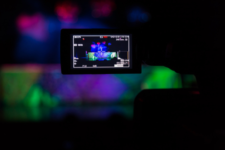 The LCD display on the camcorder. Shooting theatrical performances. The TV camera.