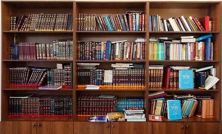 Saratov  Russia - February 25, 2018: Library in the synagogue. Multi-colored books on the bookshelf in the library