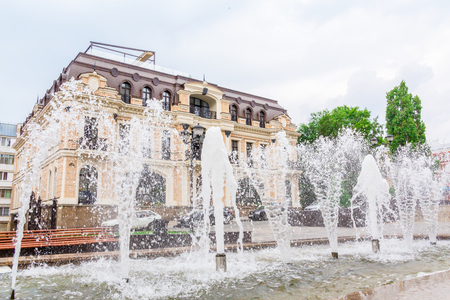 Saratov / Russia - July 18, 2018: Water fountain in the city center. Editorial