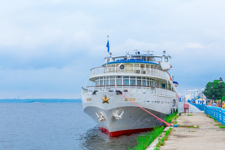 Saratov  Russia - July 18, 2018: Three-deck passenger ship Editorial