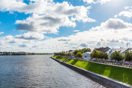The picturesque Volga landscape in the city of Tver, Russia. Sunny summer or autumn day.