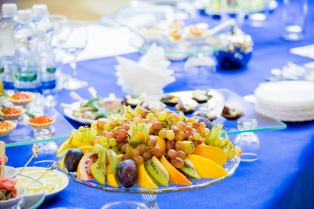 A variety of desserts, fruits and snacks at the Banquet. Buffet table, catering.