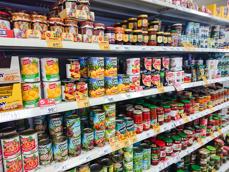 Saratov  Russia - January 2, 2019: Goods on the shelf of a grocery store. Canned vegetables and fruit.