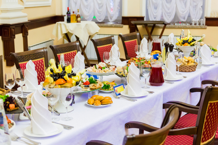 Banquet in the restaurant. Various delicacies, snacks and drinks at the gala event. Catering