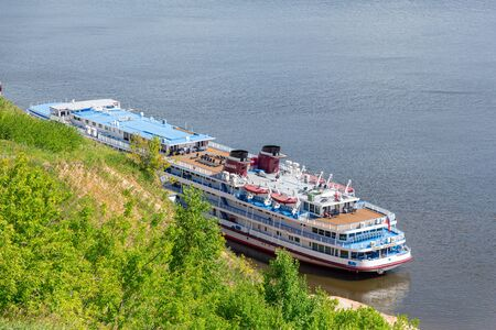 Tetyushi, Republic of Tatarstan / Russia - July 3, 2019: Four-deck cruise ship