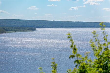 Picturesque river landscape. Summer sunny day. Volga River, Russia. 版權商用圖片