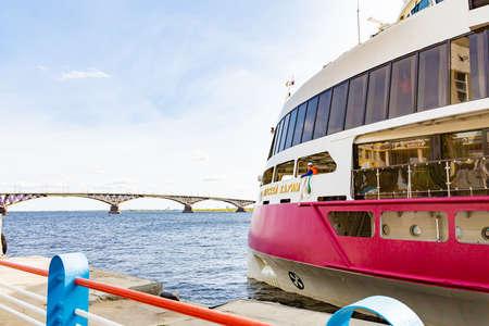 Saratov, Russia - September 21, 2020: The modern cruise ship