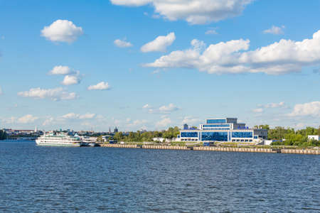 Passenger river port in Kazan on the Volga River. Tatarstan, Russia. A sunny summer day. Two three-deck passenger ships in the background. 스톡 콘텐츠