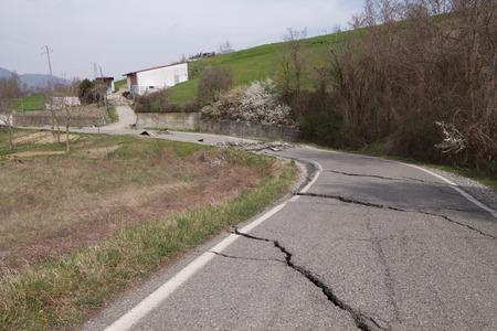 split road: Landslide,impassable road