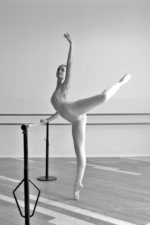 chignon: Beautiful ballerina at the bar