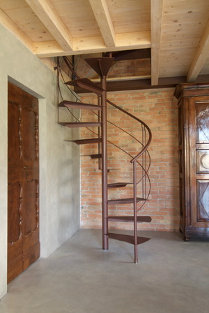Great Spiral Staircase In Rustic Space Stock Photo   65882751