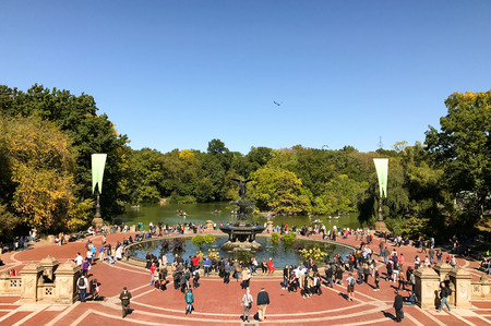 bethesda: NEW YORK - OCTOBER 14, 2016 Historic Bethesda fountain in the heart of Central Park with  angel shaped statue on its top it attracts many tourists Editorial