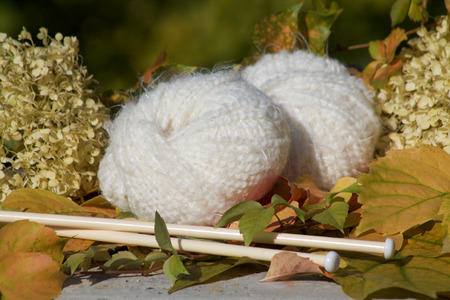woll: white soft balls of woll  ready for needlework