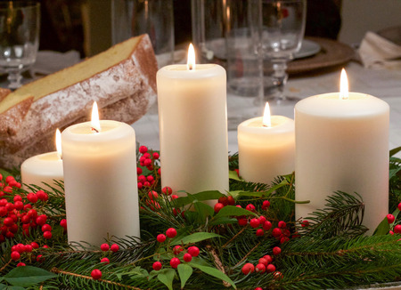 various candles on Christmas table