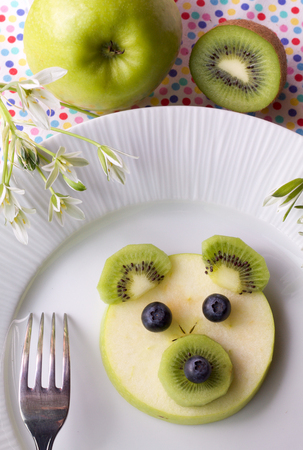 bear berry: baby bear, creative and fun  fruit dessert for child Stock Photo