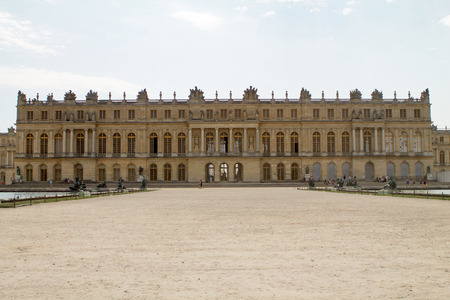 VERSAILLES, FRANCE - JULY 20,2016: Facade of Versailles palace side to the garden.Residence of King Louis XIV since 1682