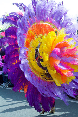 ITALY, SANREMO - MARCH 12, 2017  the springtime parade , brazilian dancer with plumage costume back