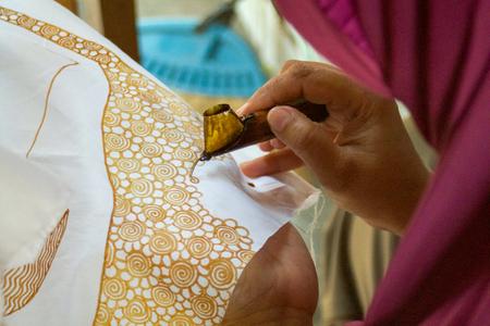 close up of batik design made with wax
