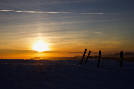 beautiful  shades of sunset on the top of ligurian mountains in winter