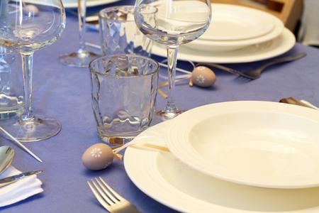 details of table setting for easter festivity