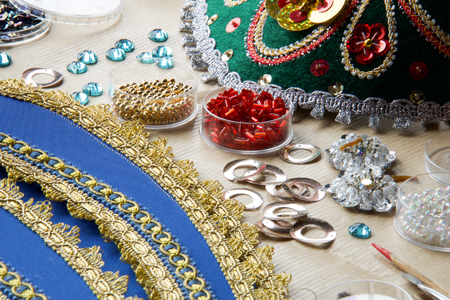 beads and trimmings to make a  multicolored russian folk tiara Stock Photo