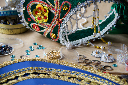 details of homemade russian tiaras with decoration in different color for folk dance