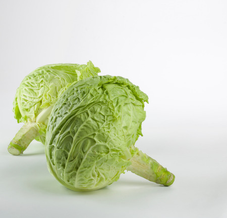 two  fresh  green cabbage isolated on white background Stock Photo