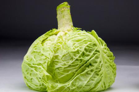 fresh cabbage just picked from the garden, dark background