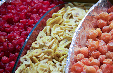 varius dehydrated fruits on istanbul market