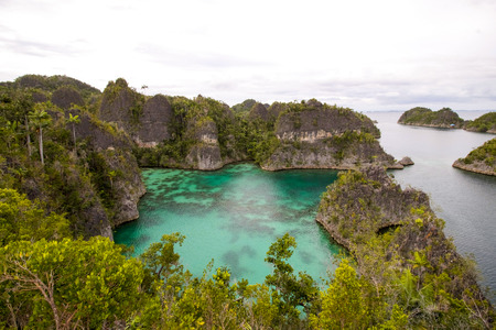 amazing bay in the shape of star in piaynemo island, raja ampat archipelago, view from the top Stock Photo