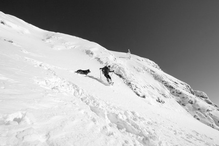 hiker jumping in the fresh snow playing with his dog  on the top, black and white