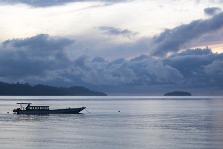 Typical exotic sunrise in raja ampat archipelago, gam island Stock Photo