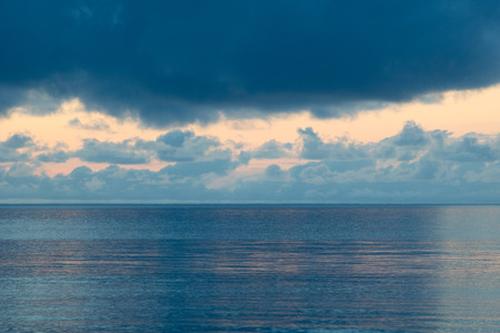 blue shades for a beautiful sunrise in raja ampat archipelago, gam island Stock Photo