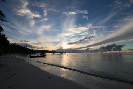 amazing sky in raja ampat archipelago at dawn, gam island