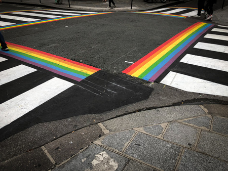 crossroad painted with the colors of a gay rainbow flag, paris, france Stock Photo